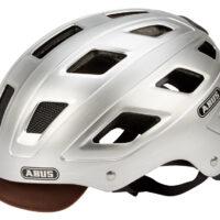 Abus Hyban Centium cykelhjelm - Str. 52-58 cm - Sølv - Integreret lygte