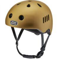 OUTLET TILBUD: Guld letvægts cykelhjelm med magnetlås og reflekser, UrbanWinner Gold Digger (2. sortering/demomodel)
