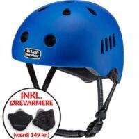 * TILBUD INKL. ØREVARMERE * Blå letvægts cykelhjelm med magnetlås og reflekser, UrbanWinner Hero Blue
