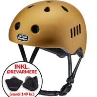 * TILBUD INKL. ØREVARMERE * Guld letvægts cykelhjelm med magnetlås og reflekser, UrbanWinner Gold Digger