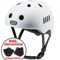* TILBUD INKL. ØREVARMERE * Hvid letvægts cykelhjelm med magnetlås og reflekser, UrbanWinner Classic White