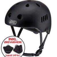 * TILBUD INKL. ØREVARMERE * Sort letvægts cykelhjelm med magnetlås og reflekser, UrbanWinner Classic Black
